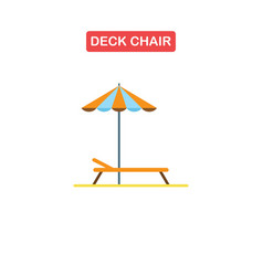 beach chaise lounge with umbrella logo vector image
