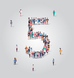 big people crowd forming number five 5 shape vector image
