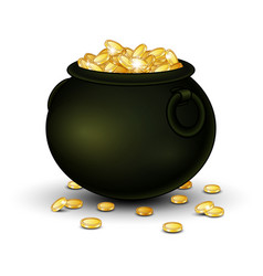Black pot full of gold coins vector