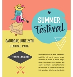Bohemian summer music event and festival poster vector