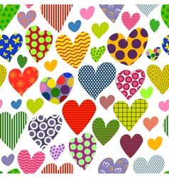 bright colored hearts seamless pattern vector image