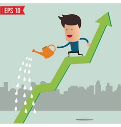 Business man watering graph - - EPS10 vector image