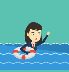 business woman sinking and asking for help vector image