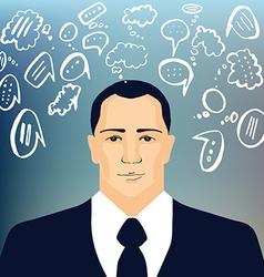 Businessman with speech doodles vector