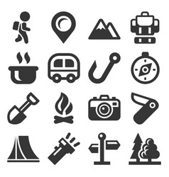 Camping icons set on white background vector