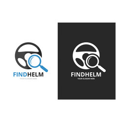Car helm and loupe logo combination vector
