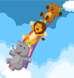 Cartoon Animals Sliding Down a Rainbow vector