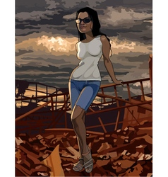 Cartoon woman stands on the ruins vector