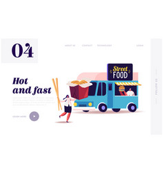 characters buying and eating street food landing vector image