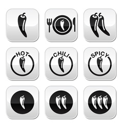 Chili peppers hot and spicy food buttons set vector image