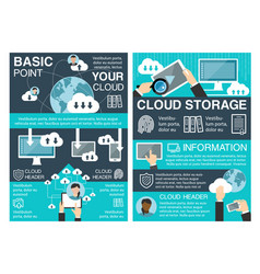 Cloud storage banner for information technology vector
