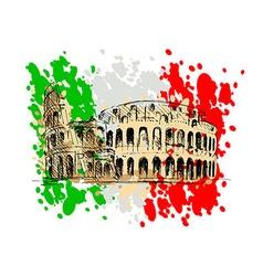 Colored sketch roman colosseum vector
