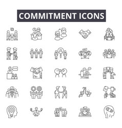 Commitment line icons for web and mobile design vector