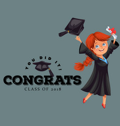 congrats class of 2018 flat colorful poster happy vector image