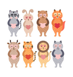 cute happy animals collection vector image