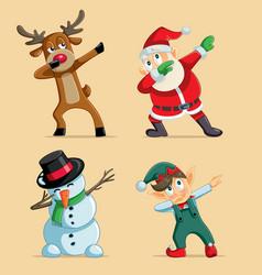 Dabbing christmas characters set vector