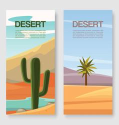 desert travel illustration two banners vector image