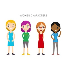 Diverse People Set Women Different poses Flat vector image