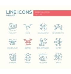 Drones - line design icons set vector image