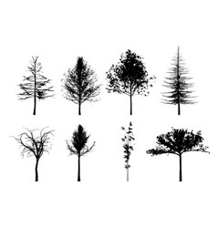 Eight trees silhouettes in black and white vector