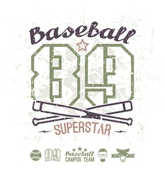 Emblem baseball superstar college team vector image