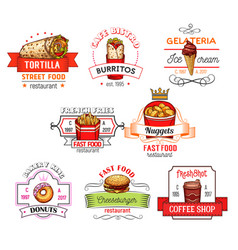 Fast food snacks restaurant icons sketch vector