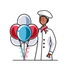 Female chef with balloons helium labor day vector