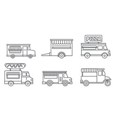 festival food truck icon set outline style vector image
