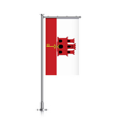 Flag of gibraltar hanging on a pole vector