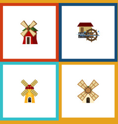 Flat icon mill set of rural windmill wheel and vector