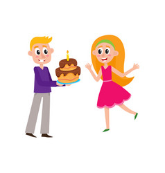 flat man giving birthday cake to woman vector image
