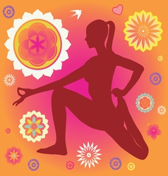 Floral yoga elements vector