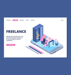 freelance landing online office concept vector image