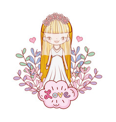 girl with weading dress and branches leaves vector image