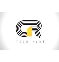 gr black lines letter logo creative line letters vector image