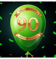 Green balloon with golden inscription ninety years vector