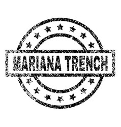 Grunge textured mariana trench stamp seal vector