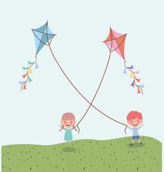 Happy little kids flying kites in field vector