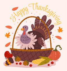 happy thanksgiving day turkey bird character vector image