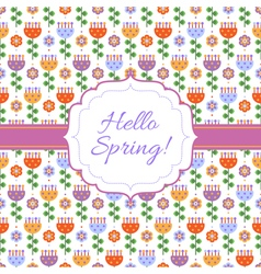 Hello Spring floral background vector