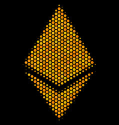 hexagon halftone ethereum crystal icon vector image