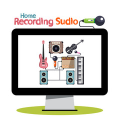 home recording studio on computer screen vector image