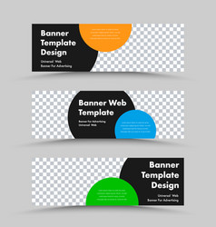 horizontal web banner templates with place for vector image