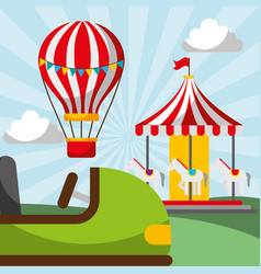 Hot air balloon carousel and bumper car carnival vector