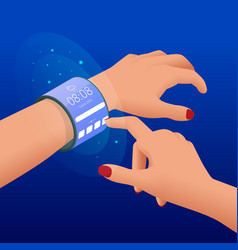 Isometric a flexible display is an electronic vector
