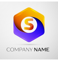 Letter S logo symbol in the colorful hexagonal on vector