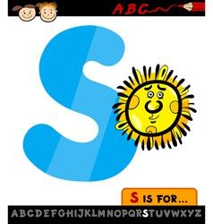 Letter s with sun cartoon vector
