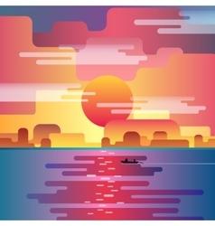 Marine sunset landscape vector