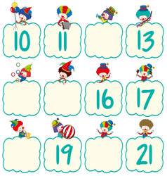 Math worksheet template with clowns and numbers vector
