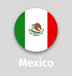 mexico flag round icon with shadow vector image